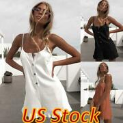 Women Loose Casual Button Sleeveless Jumpsuit Summer Ruffles Rompers Shorts Pant