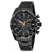 Seiko Watch Sportura Black Snaf34p1 Classic Chronograph Ss With Accessories Mens