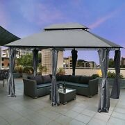 Outsunny 2-tier Grey Outdoor Garden Gazebo With Removable Curtains