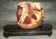6.6china Natural Red Agate Carving Zodiac Year Rooster Cock Goldfish Pen Holder