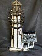 Rare Vitreville Collection Bill Job Carolina Lighthouse Stained Glass Lamp 1993