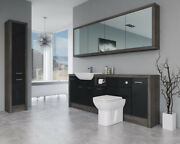 Bathroom Fitted Furniture 2200mm Black Gloss / Mali Wenge D1 With Wall And Tall Un