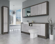Bathroom Fitted Furniture 2200mm Light Grey Gloss / Mali Wenge D3 With Wall And Ta