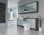 Bathroom Fitted Furniture 2100mm Duck Egg Blue Gloss / Mali Wenge D1 With Wall U