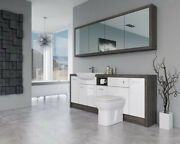 Bathroom Fitted Furniture 2100mm White Gloss / Mali Wenge D1 With Wall Unit - Ba