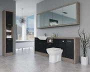 Bathroom Fitted Furniture 2200mm Black Gloss / Driftwood D2 With Wall And Tall Uni
