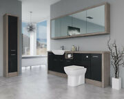Bathroom Fitted Furniture 2200mm Black Gloss / Driftwood D1 With Wall And Tall Uni
