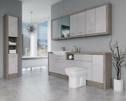 Bathroom Fitted Furniture 2200mm Light Grey Gloss / Driftwood D4 With Wall And Tal