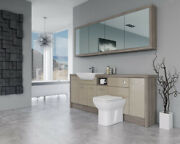 Bathroom Fitted Furniture 2100mm Cappucciono Gloss / Driftwood D1 With Wall Unit