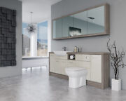 Bathroom Fitted Furniture 2100mm Cream Gloss / Driftwood D1 With Wall Unit - Bat