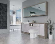 Bathroom Fitted Furniture 2100mm Light Grey Gloss / Driftwood D1 With Wall Unit