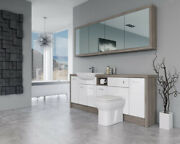 Bathroom Fitted Furniture 2100mm White Gloss / Driftwood D1 With Wall Unit - Bat