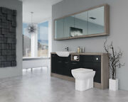 Bathroom Fitted Furniture 2000mm Black Gloss / Driftwood D1 With Wall Unit - Bat