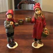 Set 2 Vintage Candy Designs Norway Boy And Girl Apples Carl Larsson Candleholders