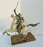 Russian Cossack Bronze And Silver Statue Cosaque Du Tsar Russie By Guiseppe Vasari