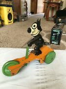 Vintage 1930and039s J Chein Felix The Cat Scooter Wind Up Htf Works