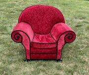 Vintage 1999 Blues Clues Thinking Chair Real Wood Furniture Red Velvet
