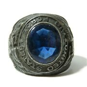 Vintage U.s. Air Force Ring Usaf Uncas Sterling Silver Blue Stone Size 7