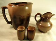 Lot Of 3 Frankoma Pottery Brown Salt Pepper Small Pitcher Large Pitcher