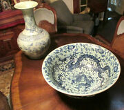 Antique Chinese Ming Dynasty Porcelain Blue And White 5 Claw Dragon Bowl Signed