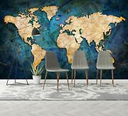 3d Blue Poster A650 World Map Wallpaper Wall Mural Removable Self-adhesive Amy