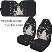 3 Pcs Cute Sloth Car Seat Covers With Car Windshield Sun Shade Accessories Set