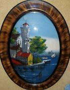 Antique Oval Convex Bubble Glass Reversed Painting Scene In Venice