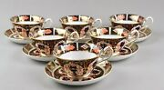 Antique Royal Crown Derby China Old Imari 1128 Tea Cups And Saucers X 6 1st C.1923