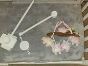 Pottery Barn Kids Wooden White Wood Baby Crib Mobile Arm Hayley Owl Musical Euc