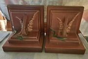 Vintage Pair Of Roseville Pottery Brown Some Chips See Pictures