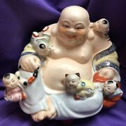 Vintage Porcelain Laughing Happy Buddha With Climbing Children.