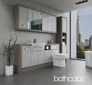 Bathroom Fitted Furniture Light Grey Gloss/driftwood A3 1800mm With Wall And Tall