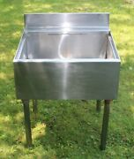 Stainless Steel Utility Sink 23-1/2 Wide Single Bowl Commercial Sink