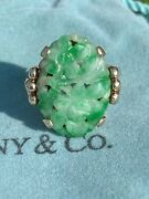 And Co 14k Retro Chinese Carved Jadeite Jade Floral Foliate Cabochon Ring