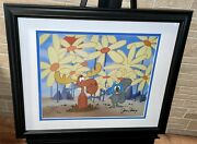 Rocky Bullwinkle Cel Signed June Foray Pushing Up Daisies Rare Animation Cell