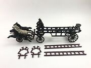 Early 1900s Cast Iron Hubley Hook And Ladder 3 Horse Drawn Fire Truck - B325