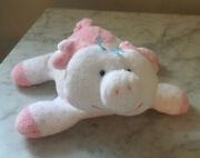 """Eden Toys 7"""" White And Pink Terry Cloth Pig Plush Baby Toy, Polka Dots, Rattle"""