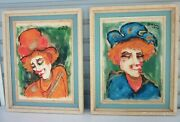 Roger Etienne Pair Of Impressionist Clown Oil Paintings Shabby Chic Mid Century
