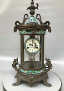 23.6 Old Chinese Pure Bronze Cloisonne Enamel European Style Mechanical Clock