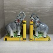 Vintage 1960andrsquos Japan Ceramic Elephant Bookends Thames Hand Painted 6andrdquo X 4.5andrdquo