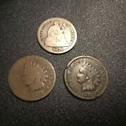 1876 Indian Head Penny Lot . Super Nice Better Date Lot . Look