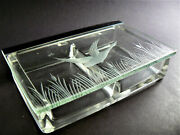 Rare Vintage Clear Glass Trinket Vanity Cigarette Card Jewelry Box Etched Lid B9
