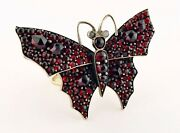 Antique Victorian Bohemian Garnet And 18k Gold Butterfly Ring | Brooch Conversion