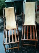 2 Antique Sling Back Beach Chairs W/ Foot Rest Wooden Frame Canvas From 1910-20s