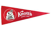 """Camp Snoopy Knott's Berry Farm Red Pennant Charles Schulz 29.5"""" X 12"""""""