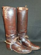 Wwi Us Army Officersand039 Brown Leather Riding Boots And Spurs Cavalry Scarce Original