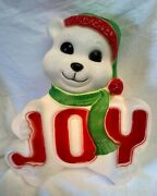 Christmas Blow Mold By Empire - White Bear With Joy Sign - 14 Tall