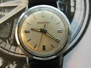 Restored 1966 Bulova Accutron 214 Stainless Mens Watch Numbers Sunburst Dial