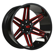 Vision 363 Razor 24x12 6x139.7 Et-51 Gloss Blk Milled Spoke/red Tint Qty Of 4