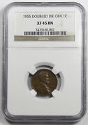 1955/55 Doubled Die Obverse Lincoln Wheat Cent Penny Coin Ngc Xf45 Bn Choice Xf+
